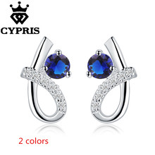 2017 E536 HOT BEST SELLING blue red silver earrings women fashion Ohrring/boucle/brinco/pendiente factory price(China)