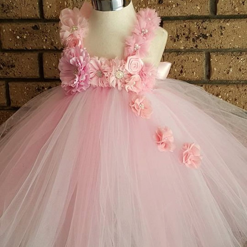 2016 Top quality A sweet Flower Girl Dresses Blue and Pink Flower 2-8Year Cute Draped Ball Gown Evening Dress Children Party<br>
