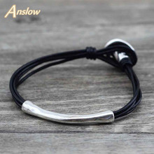 Anslow Brand Wholesale Handmade DIY Cheap Lady Female Wrap Wire Leather Bracelet For Women Men Free Shipping Gift LOW0556LB(China)