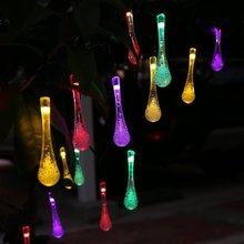 4 meter SOLAR Garden LIGHTS STRING FAIRY Multi Color 20 LED Icicle Ball Waterproof Globe Party Square Holiday Wedding Decoration