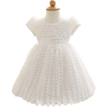 Newborn 1st First Baby Girl Birthday Dress Infant White Litttle Dress Baby Girl Dress Party Wedding Gown Size 3 6 9 12 24 Months(China)