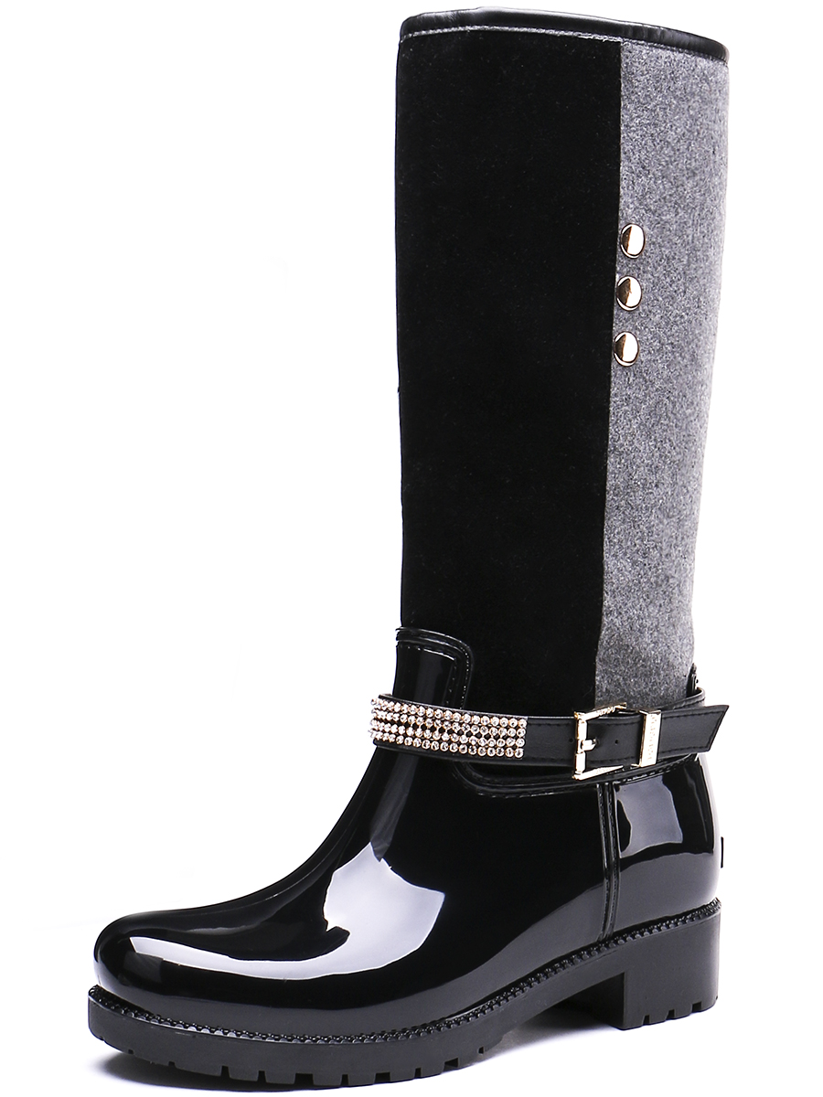 TONGPU Contrast Color Rhinestone Belt &amp; Buckle Knee-High Womens Waterproof Rain Boots 20-395<br>