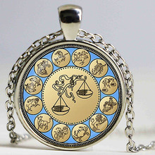 Free shipping Vintage Libra pendant Zodiac Libra Necklace Astrology Horoscope Jewelry September October Birthday Gift Wholesale(China)