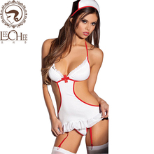 Buy Leechee Women sexy lingerie cosplay nurse uniform+hat+ruffles garter+thong alluring erotic underwear porn nurses costumes XT001