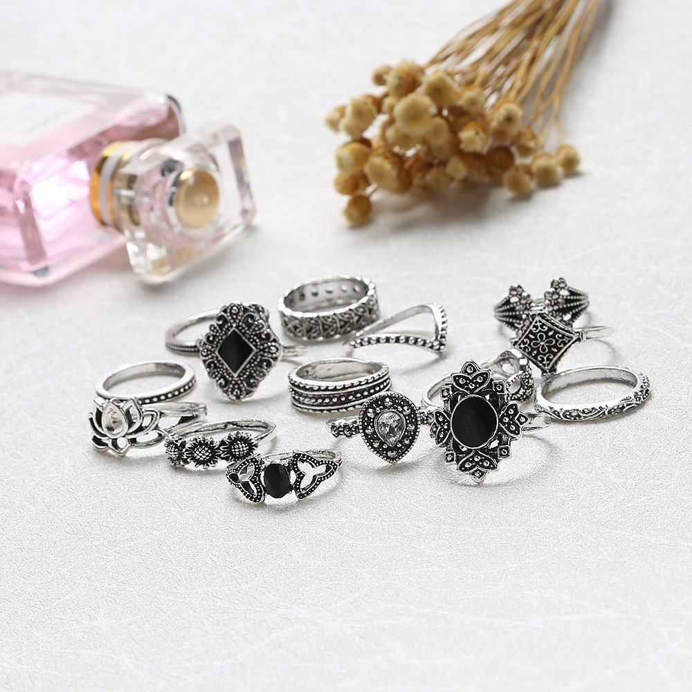 Bague Femme Vintage Rings for Women Boho Geometric Flower Crystal Knuckle Ring Set Bohemian Midi Finger Jewelry Silver Color 22