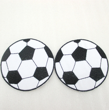5Y44731  68*68mm football Embroidery patch printed polyester ribbon 5 pieces, DIY handmade materials, wedding gift wrap
