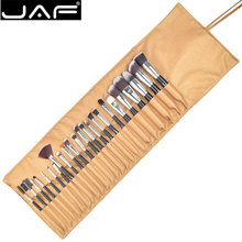 JAF 24pcs Synthetic Soft Taklon Makeup Brush set High Quality Make Up Brushes Professional Cosmetic Kit in Leather Pouch J2404YC(China)
