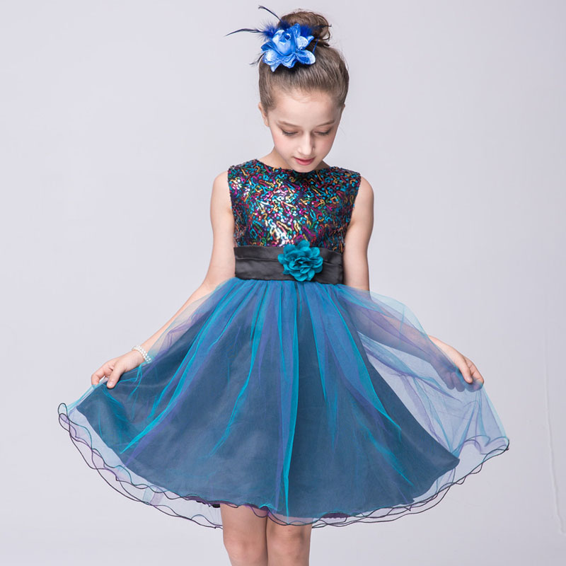 Girls Sepuined Dresses Summer 2016 High Quality Blue Flower Girl Dresses For Party And Wedding Princess Dress Age 3 to 14 Years<br>