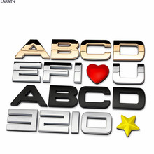 26pcs 30mm Black Gold Letters Number Metal Chrome Car Emblem Badge 3D Car Stickers Refitting Customize Home Decal Decoration