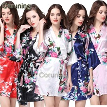 RB008 Short Style Woman Peacock Printed Silk Kimono Robes ,Wedding Party Bridesmaid Robe(China)