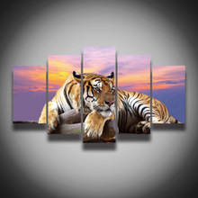 2017 Top Fashion Painting No Framed Tiger Animal Painting On Canvas 5 Panels Wall Art Home Decoration Print Pictures(China)