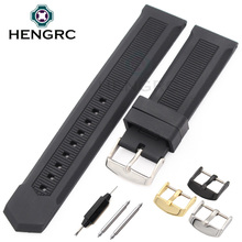 HENGRC Rubber Watch Band Men 22mm Soft Diving Black Silicone Sport Strap Belt With Steel Metal Pin Buckle Accessories