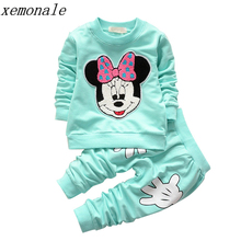 2017 New Spring Promotion Coat Character Regular Full Kids Sport Wear Garment Fashion Minnie Baby Clothing Set Suit Clothes(China)