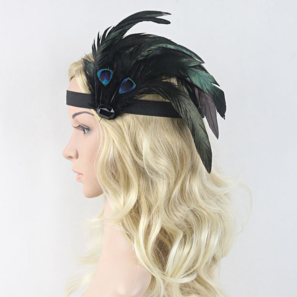 Peacock Feather Crystal Rhinestone Headpiece Roaring 20's Gatsby Flapper Headband(China (Mainland))