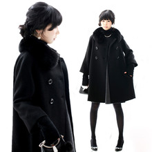 2016 Winter Women Wool Cloak Large Size Ladies Thick Cloak Real Fox Fur Collar Cashmere Coat Woolen Coat S-5Xl A718