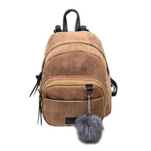 Simple Fashion Women Backpacks Canvas Plush Ball Shoulder Bag Retro Backpacks for Teenage Girls Travel Shopping Bags Mochila