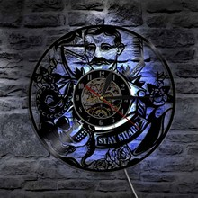1Piece Barber Shop Lighting Vinyl Record Clock with LED Backlight Salon Gifts Fans of Fashion(China)