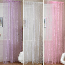 Door Drape Panel Scarf Sheer Voile Butterfly Flocked Yarn Window Curtain Decal Pink Curtain(China)