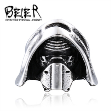 BEIER Cool 316L Stainless Steel Unique style punk ring Star Wars Vade Mask Jewelr for man BR8-295(China)