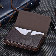 High-quality Pocket Size Synthetic PU Leather Business Name Card Holder Case Box Wallet Brown Color