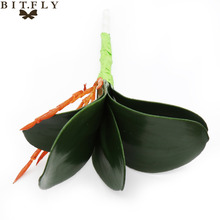 Simulation Butterfly orchid green leaves Bonsai Wedding Artificial Plants Valentine's Day Flower Christmas Home Party decoration(China)