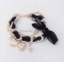 gift Fashion make up charms bowknot  Bow pearl  gold bracelet bangle women free shipping SPX0333
