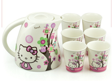Kawaii 7 In 1 Knit Hello Kitty Ceramic Tea Cup Set Coffee Cup Set Best Gift For Women