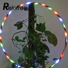 Relefree Sport Portable Equipment Circles 90cm Colorful LED Glow Hoop Waist Slimming Lose Weight Healthy Life Kids Toy Gifts