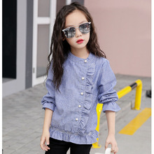 ruffles school long sleeve blouse girls autumn cotton striped beautiful blouses for girls teens 2017 children clothing casual(China)
