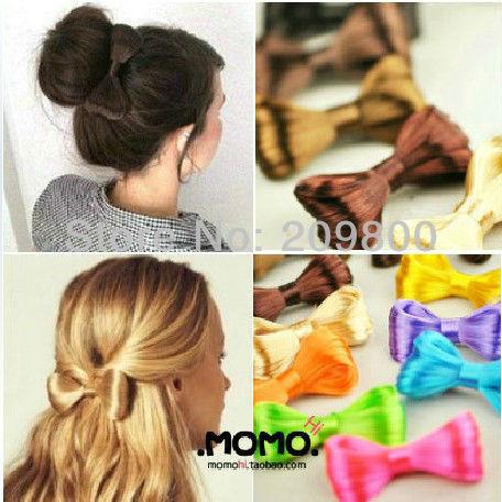 6pcs/lot  Fashion lady gaga Hair Bow Bowknot Wig Hair Clip Party  12 Colors Free shipping