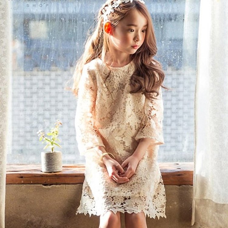 2016 Summer Evening Dress School Girls Cotton Lace Crochet Frocks Design For Teens Age 5 6 7 8 9 10 11 12 13 14T Years Old<br>