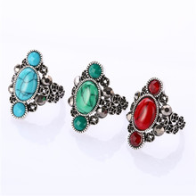 Boho Vintage Unique Stone Rings Women & Love Jewelry Retro Large Green Stone Party Ring Female Ring Punk Retro Wedding Rings