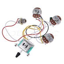 Electric Guitar Wiring Harness Prewired Kit 5 Way Toggle Switch 250K 2T1V Pots for Strat Parts(China)