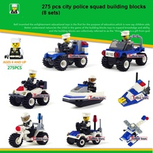 8set/lot Bus Police Station Truck City Plane Ship Motorcycle Building Blocks Brick Learning Education Toy compatible with legoed