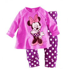 Children's pajamas set Spring&autumn fashion cartoon baby girls clothing set 100% cotton girl's pyjamas Sleepwear Purple p017