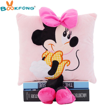Hot Sale 3D Mickey Mouse and Minnie Mouse Plush Pillow Anime Cartoon Mickey and Minnie Plush Toys Kids Gift(China)