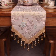 Handmade Tassels Beige Classic Elegant Formal Dinning Table Runners / Luxury Home Decorative Vintage Cabinet or Bed Runner(China)
