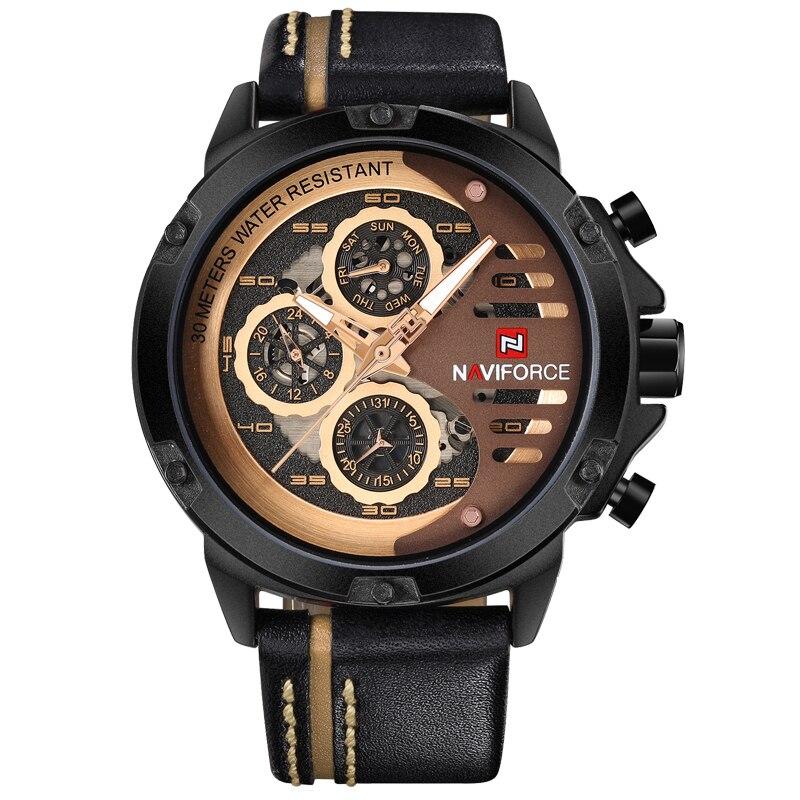 2017 Mens Luxury Brand NAVIFORCE Sport Leather Quartz Watch Men Fashion Casual Waterproof Military Watches Relogio Masculino<br>