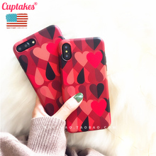 Cuptakes Soft Silicone Case for iPhone 7 6 6S Plus X 10 Cover Cute Red heart Queen Black Phone Cases Coque Brand name Cartoon(China)