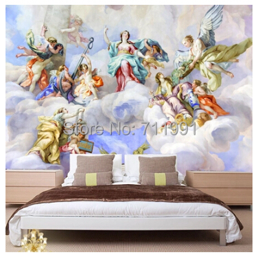 Custom ceiling wallpaper,angel ,3D retro oil painting wallpaper for living room bedroom safe background waterproof PVC wallpaper<br>