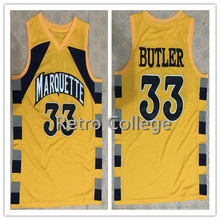 #33 Jimmy Butler Trrowback College Marquette Golden Eagles Basketball Jersey Retro throwback Stitched embroidery college jersey(China)