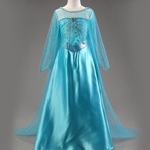2017 Summer Elsa Dress Kids Movie Cosplay Baby Girls Party Dress Children's Festival Dresses Girl Clothing For 3-9y Girls(China)