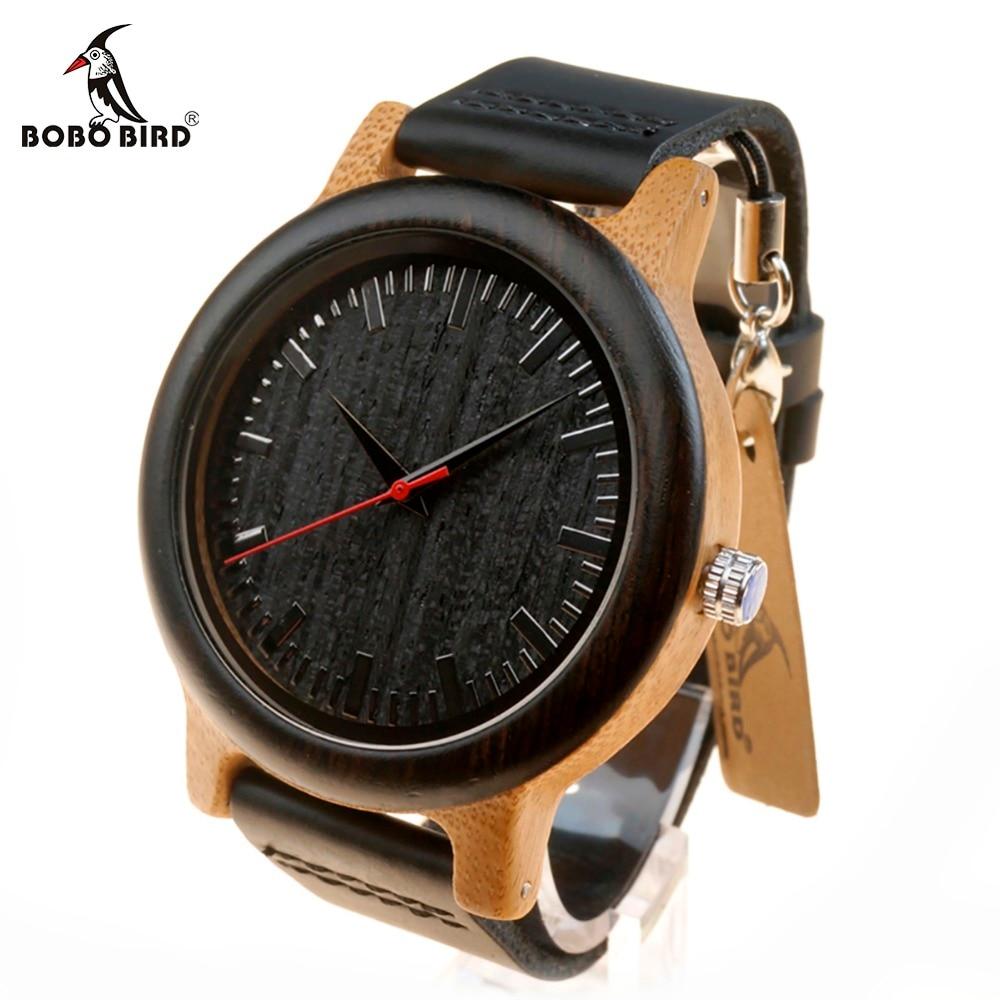 BOBO BIRD WM13 Newest Brand Design Wenge Wooden Watch Soft Leather Band Cool Bamboo Quartz Watches Carton Box Accept Customize<br>