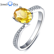 Genuine 925 Sterling Silver Rings For Women Party Jewelry Yellow Natural Citrine Ring  (JewelOra RI101282)