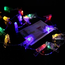 High quality 2M 20 LED Card Photo Clips battery Bright String fairy Light operated by 3AA battery livingroom birthday decoration