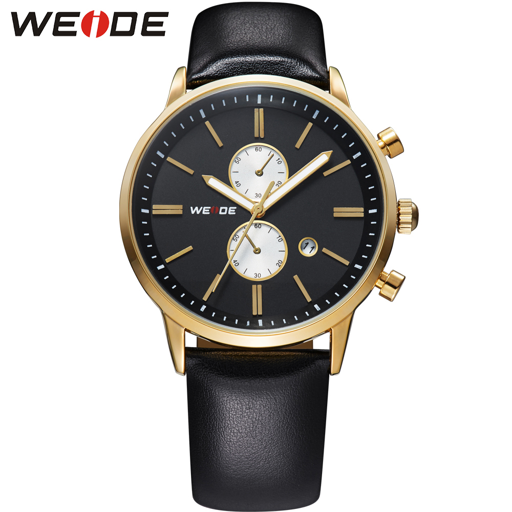 Top Sale! WEIDE Watches Men Military Quartz Sports Watch Luxury Brand Leather Strap Waterproofed Complete Calendar Gold Case<br><br>Aliexpress