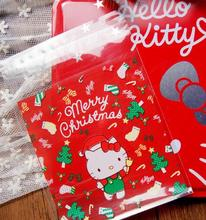 100pcs Red Cute Hello Kitty Christmas Self Adhesive Bag Food Cookie Bag Plastic OPP Bag Jewelry Gift Poly Bag 10x14cm 11x10+3cm(China)