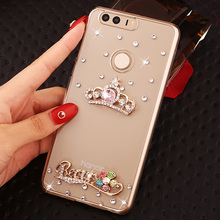 Luxury Transparent Cute Diamond Cell Phone Case Shell For Huawei Honor 8,Rhinestone Pattern Style Phone Case For Huawei Honor8