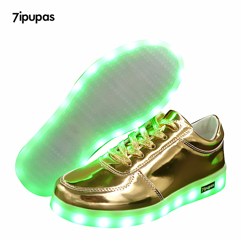 7ipupas NEW children Led sneakers USB charging kids LED luminous Gold shoes boys girls of colorful flashing lights up sneakers