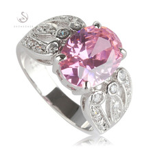 New pattern Bezel Setting Rhodium Plated Rings Pink Cubic Zirconia R534 Size #6 7 8 9 Noble Generous Best Sellers Rave reviews